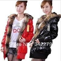 Plus size winter cotton-padded jacket fox fur hat tie thickening slim overcoat medium-long wadded jacket outerwear female