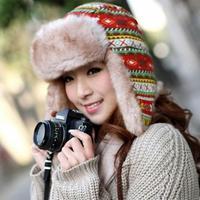 1Pcs Fashion 2014 Winter Hat Earflap Russian Trooper TRAPPER Faux Fur SKI BEANIE HAT CAP Women Red Color Gifts