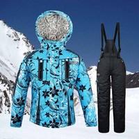 Child outdoor ski suit set classic fancy plus velvet thickening thermal girl female child ski suit