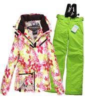 Outdoor skiing rossignol ski suit fancy skiing clothing female set waterproof thermal wear-resistant