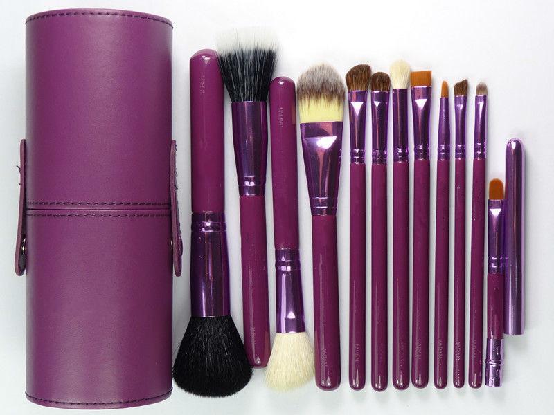 whole sell price New Purple Professional Makeup Brush Set 12 pcs Kit w/ Leather Cup Holder Case kit(China (Mainland))