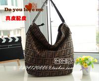 F women's canvas handbag plaid woven pattern thickening fabric one shoulder cross-body handbag bucket bag