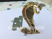Excellent 3D gold metal Ford Mustang Cobra car badge For Ford Mustang, Front Grille emblem sticker logo, Full of arrogance