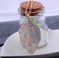 Luxury CZ x0208 seven leaves pendant long necklace female necklace accessories