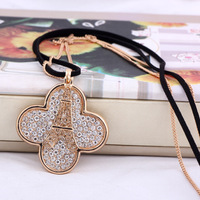 Fashion Crystal Micropave Bead Eiffel Tower Four Leaf Clover Pendant Long Necklace,Micro Inlay Bead Pendant