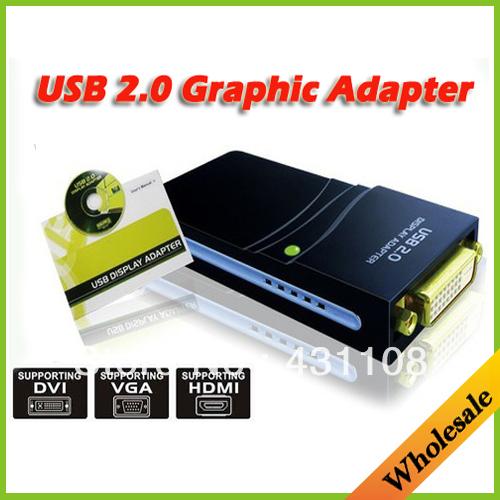 Wholesale Drop shipping 17D USB 2.0 UGA to DVI VGA HDMI Multi Display Dual Monitor Converter Graphic Adapter Video Card Adapter(China (Mainland))