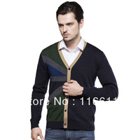 The newest  men sweater cadigans woollen  color matching  sweater  for men  V_Neck,Dark green + navy blue color,M-XXXL(MMY0003)