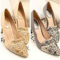 2013 Summer new fashion brand shoes for women, luxury lace beading gem pointed toe sexy wedding party high heel shoes