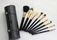 9pcs Set Wool Cosmetic Brush Make up Leather Cup Holder Case kit Free shipping wholesale