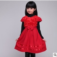2013 new arrival Fall Winter Girl's Sweet Woolen Vest Dress Children Princess Christmas formal sleeveless bow lace dress