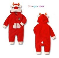1pcs 2013 New Baby Girls Christmas Clothes Long Sleeve Cute Wapiti Bear Hoddies Rompers Kids Boys Winter Warm Wear Jumpsuits Red