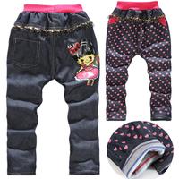 Winter children's pants 100% cotton jeans plus velvet thickening long trousers for girl heart print floral jeans