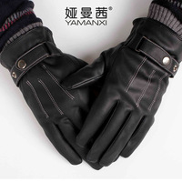 Autumn and winter male gloves plush thickening thermal leather full finger gloves yarn