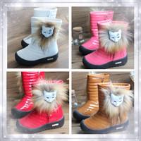 Winter child 2013 medium-leg snow boots girls  shoes children  waterproof boots