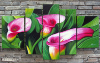 Oil Painting Modern Canvas For Home Decor Handmade Abstract Painting Calla Flowers Picture Decorative Painting Mural 5Pcs Set
