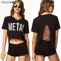 2014 Summer New Fashion Sexy Letter Print Cutout Racerback Short-Sleeve Short Design Women's Asymmetrical Crop Tops T-shirt