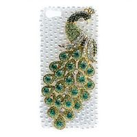 3d Designer Peacock Pearl Case For iphone 5 Covers Case For iphone 4 4s1pcs Opp package Free shipping