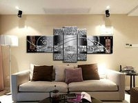 Free shipping Modern Abstract Canvas Oil Painting abstract black white 5pcs/set Framed