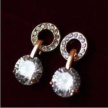 Minimum Order $ 20 Hot Hearts and Arrows Zircon Rhinestone earrings fashion female flash zircon earrings sweet circle