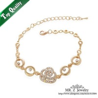 New Arrival 2013 Rose Flowers Bracelets Rhinestone For Girl Dress Christmas Jewelry Free Shipping
