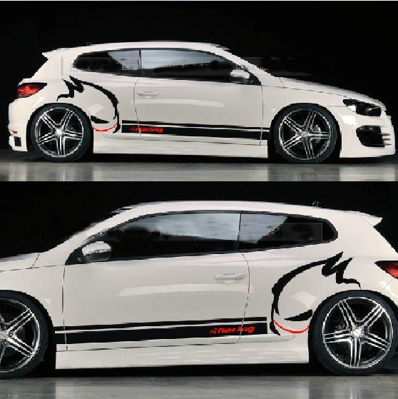 Car design sticker stripes - Universal Customized Evil Rabbit Car Whole Body Sticker Garland Racing