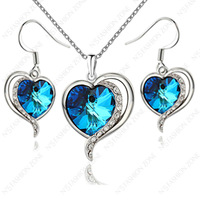 18K White Gold Plated Titanic Heart Of Ocean Shining Austria Crystal Necklace&Earring Sets S131W1
