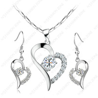 Silver color White Gold Plated Shining Austria Crystal Titanic Heart Necklace&Earring Sets S134W1