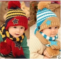 2013 autumn and winter fashion children hat scarf in one set stars shaped knitted  multicolors knitted  Wholesale Free Shipping