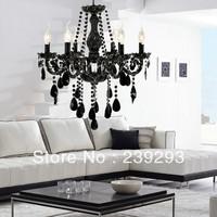 Free Shipping 110-240V Black Color Crystal Chandelier For Living Room In 6 Lights Height Adjustable D55CM Size In Fast Delivery