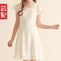 Full lace one-piece dress white short skirt summer women's 2013 slim basic formal skirt