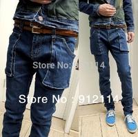 2014  Unique  big pocket branded  denim jeans for men casual slim washed A little Cross jeans men,freeshipping,28-34