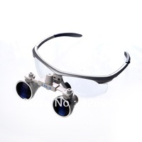 Free shipping easyinsmile Silvery color Dental Surgical Medical Binocular Loupes for Dentist work with LED headlight