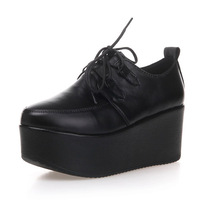 Harajuku genuine leather platform single shoes black round toe platform lacing young girl cos shoes