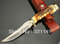 HOT SALE! High Quality Schrade Hunting Knife,7Cr17Mov Blade Animal Bone Handle Sanding Outdoor Knife.Free Shipping!