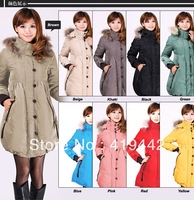 2013 Fashion maternity Winter down coat plus size overcoat for pregnant women  medium-long raccoon fur wadded jacket outerwear