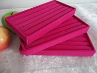 Free shipping rose red pink jewelry tray ring display box 11x22cm 3pcs/lot ring holder case