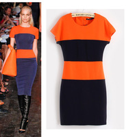 Women's 2014 summer fashion ruslana korshunova orange stripe short-sleeve dress slim13102701