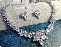 Jewelry bride 3a zircon necklace earrings jewelry set dinner sets chain married