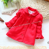 Baby spring and autumn outerwear cardigan top single tier outerwear female child fashion red coat
