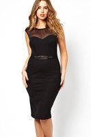 Sophisticated Curve Belted Midi Summer Dress with Mesh LC6190 Plus Size Women Clothing Casual Dresses Vestidos vestido de festa