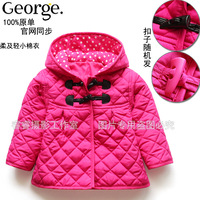 Baby girl boy autumn and winter outerwear small wadded jacket cotton-padded jacket buckle cardigan top