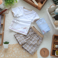 Male child baby children's clothing set summer 100% cotton male baby set t-shirt trousers