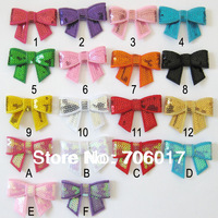 "2"" sequin Bow Knot Applique without hair clips 18 Colour DIY accessories for baby & gril  180pcs/lot free shipping"