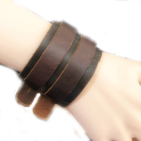 2013 New 2 Layer Punk Belt Men Imitation Cow Leather Bracelet Wristband Cuff Bangle Gift HG-0418