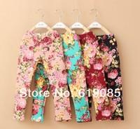 2013 100PCS/LOT Wholesale Summer Cotton Leggings Fashion Children Print Colorful  Girls Printing Flower Pants  Free Shipping