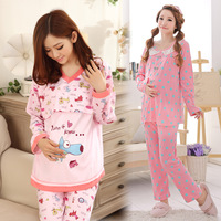 Maternity sleepwear 100% cotton autumn and winter maternity sleepwear nursing clothes spring and autumn of the puerperal nursing