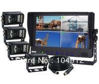 "9"" QUAD/SPLIT LCD BACKUP REAR VIEW REVERSE CAMERA SYSTEM CAB OBSERVATION"