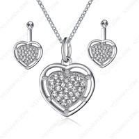 18K White Gold Plated Titanic Heart Of Ocean Shining Austria Crystal Necklace&Earring Sets S286W1