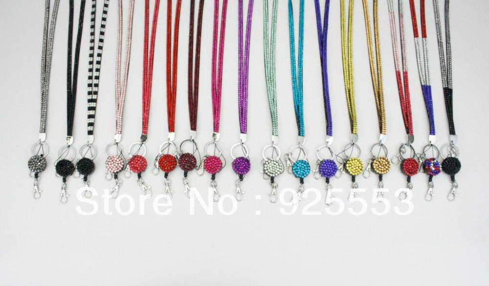 Rhinestone Bling Crystal Lanyard ID Badge Cell Phone Retractable Reel Holder Key(China (Mainland))