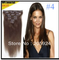 """Free 15"""" 18"""" 20"""" 22"""" 26"""" Full Head Remy Clip in Human Hair Extension 8pcs 100g #4 Chocolate Brown"""